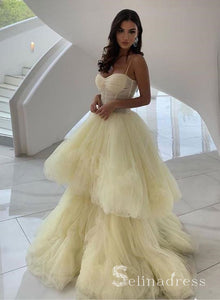 Unique Yellow Tulle Spaghetti Straps Long Prom Dress Cheap Evening Dress SED125|Selinadress