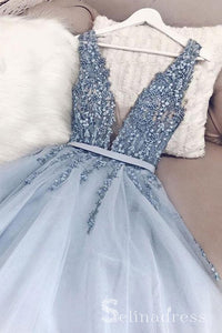V neck Blue Beaded Long Prom Dress Gorgeous Backless Formal Pageant Evening Dress SED048|Selinadress