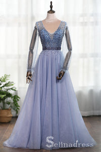 V neck Blue Beaded Long Prom Dress Long Sleeve Tulle Formal Dress Evening Gowns SED045|Selinadress
