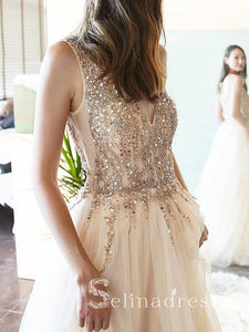 V neck Champagne Prom Dresses Long Sparkly Charming Evening Dress Formal Gowns SED150|Selinadress