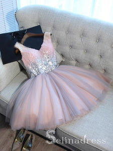 V neck Cute Homecoming Dresses With Sequins Pink Juniors Short Prom Drsess HML017|Selinadress
