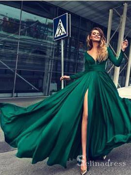 V neck Long Sleeve Hunter Long Prom Dress Thigh Split Sexy Evening Dress SED012