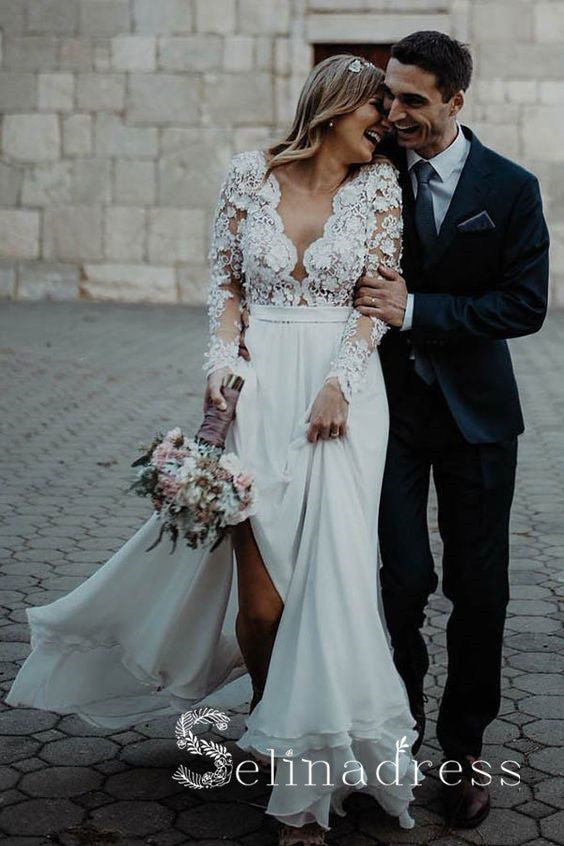 V neck Long Sleeve Lace Wedding Dresses Rustic Chiffon Wedding Dress SEW046