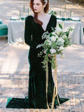 Velvet V neck Long Sleeve Prom Dresses Dark Green Mermaid Long Bridal Guest Dresses #SED176|Selinadress