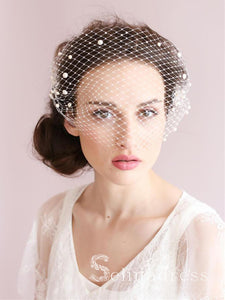 Vintage Ivory Mesh Birdcage Wedding Veils with Pearls ALC005
