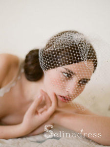 Vintage Ivory Mesh Birdcage Wedding Veils with Tiny Crystals ALC006
