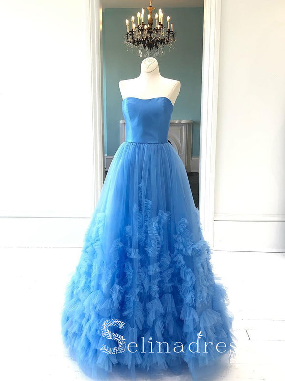 Vintage Long Blue Prom Dresses Simple Strapless Evening Gowns Formal Dresses SED151|Selinadress