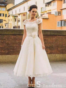 Vintage Tea-length Wedding Dresses Bateau Beautiful Lace Bridal Gown SEW043|Selinadress