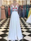 White Spaghetti Straps Prom Dress Embroidery Elegant Prom Dresses Long With Floral SED104