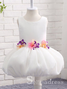 White Tulle Scoop Neck Princess Layer Flower Girl Dresses GRS005