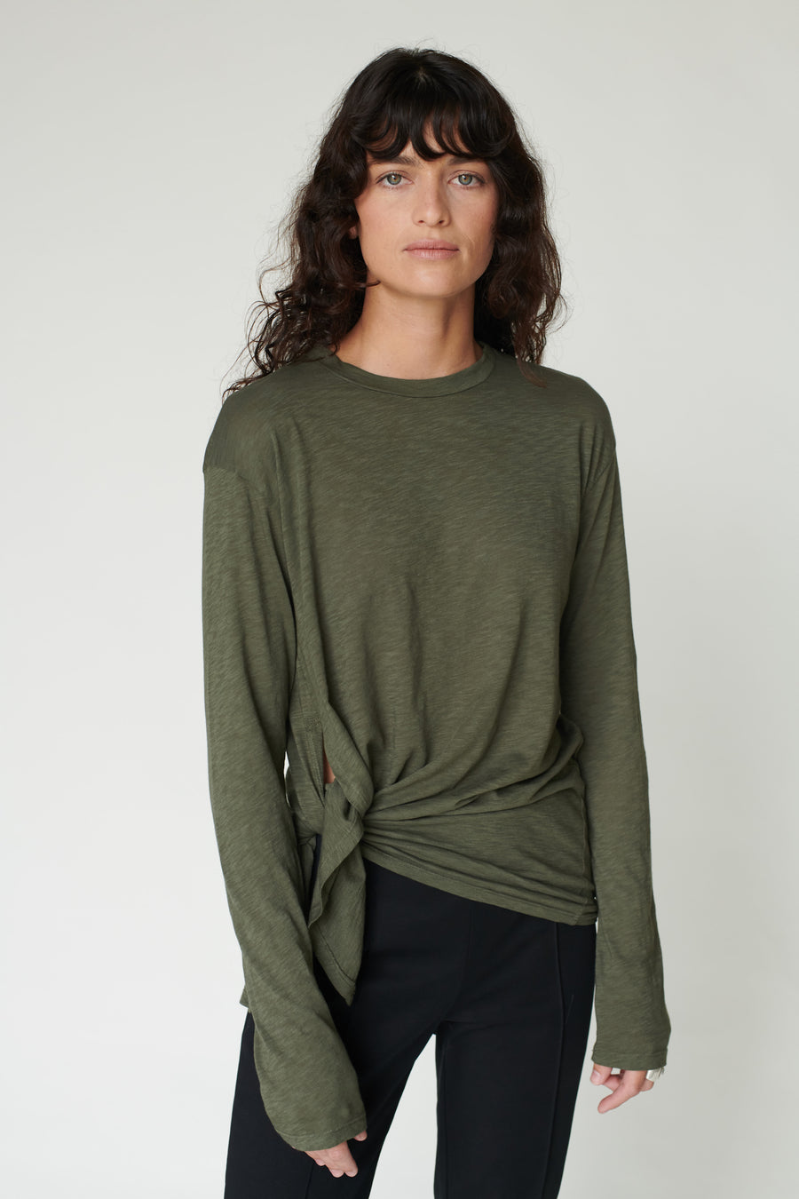 Supima Cotton Side Slit Tee - Army
