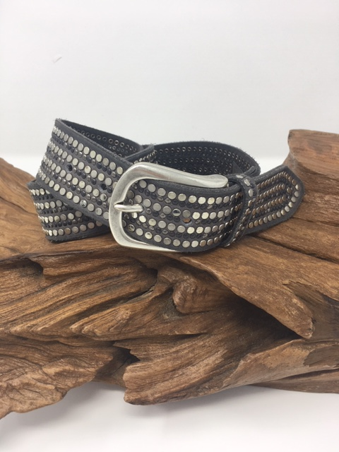 Steel Grey Studded Belt - ShopMadisonbelle