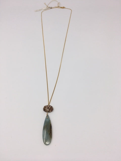 Smooth Stone Pendent Long Necklace - ShopMadisonbelle