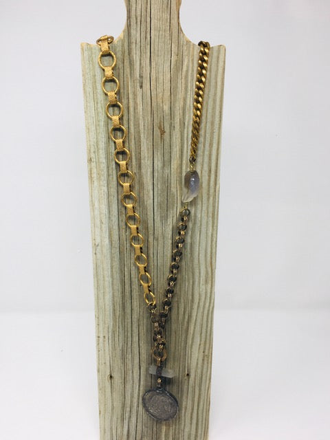 Mixed Brass Chain with Vintage Coin - ShopMadisonbelle
