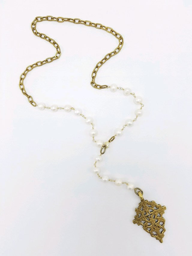 Freshwater Pearl and Tibetan Cross Necklace - ShopMadisonbelle