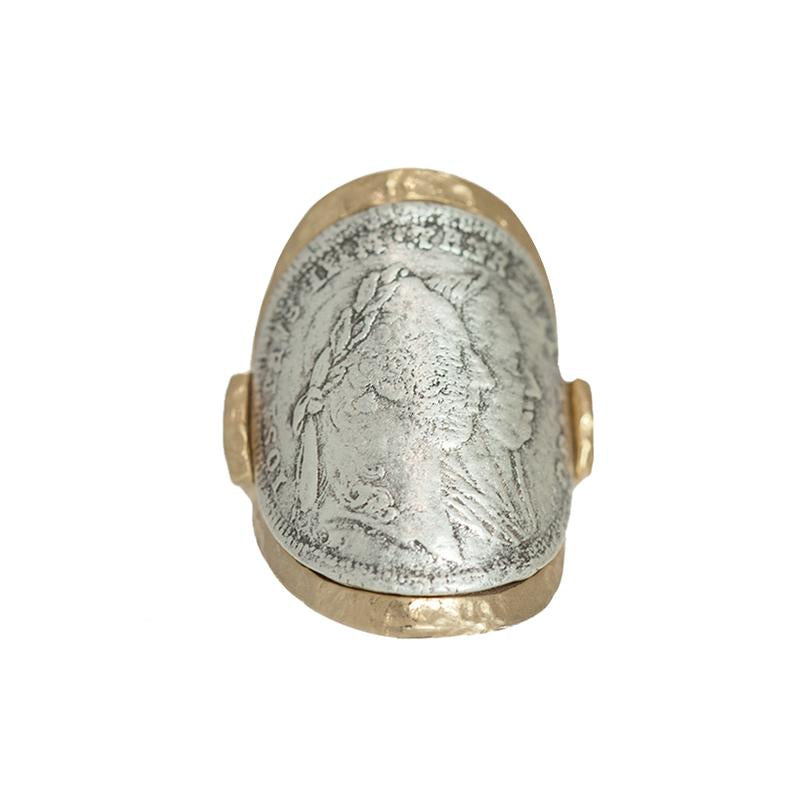 GOLD MARIA THERESA CURVED COIN RING Sz 7 - ShopMadisonbelle