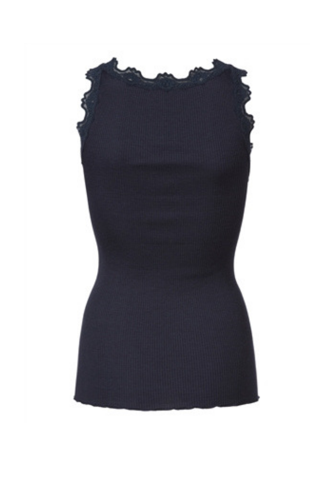 Babette Silk Ribbed Top - Navy