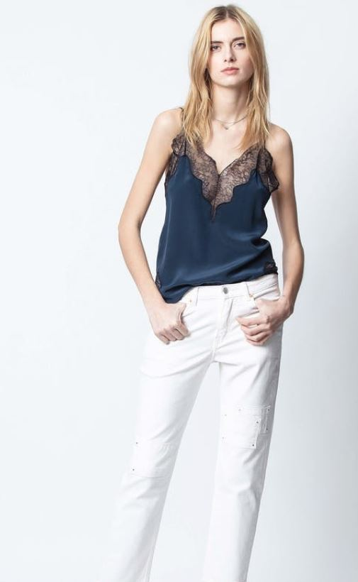 Crush Cami - Blueberry w/ Black Lace - ShopMadisonbelle