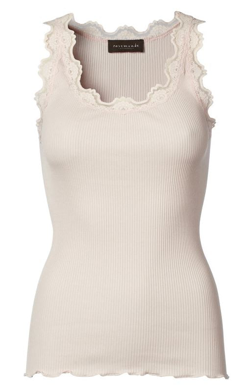 Babette Silk Ribbed Tank - Soft Powder
