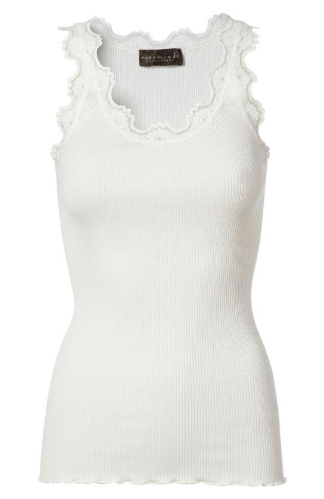 Babette Silk Ribbed Tank - New White