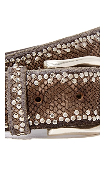 Python Border Stud Belt - Brown - ShopMadisonbelle