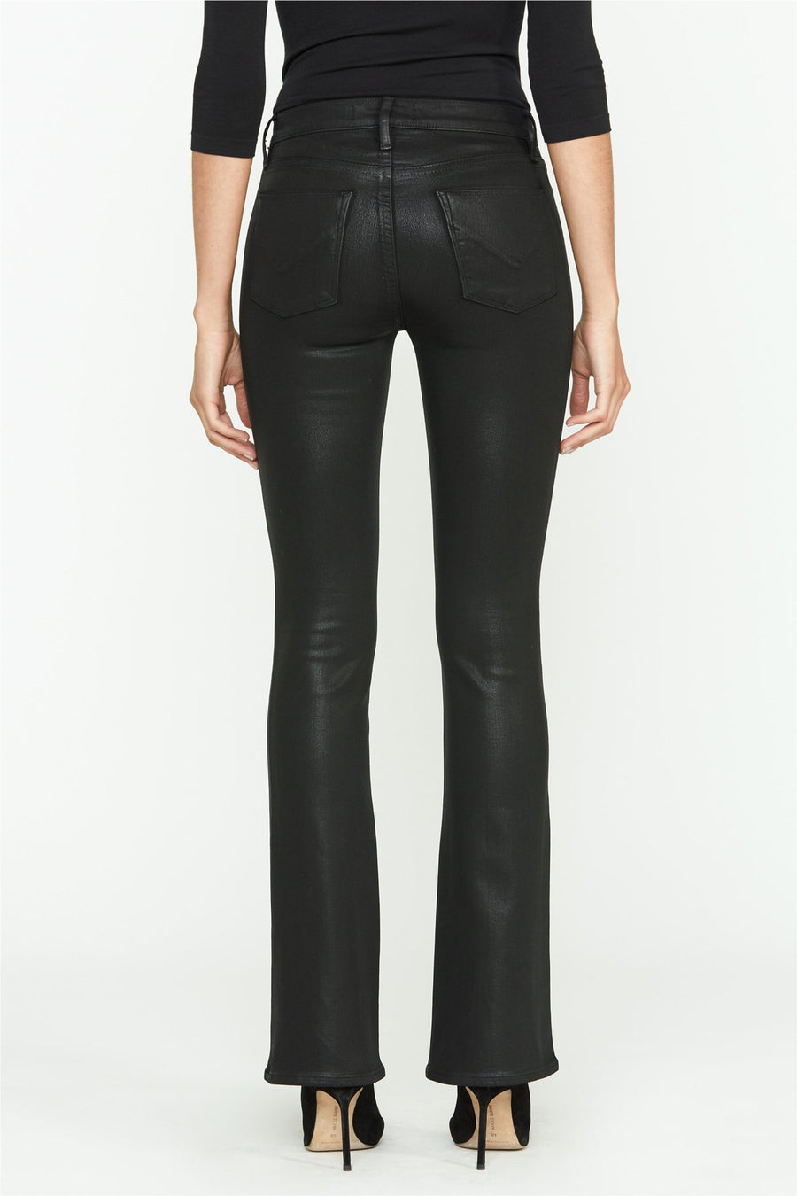 Barbara High-rise Bootcut Jeans - Noir Coated