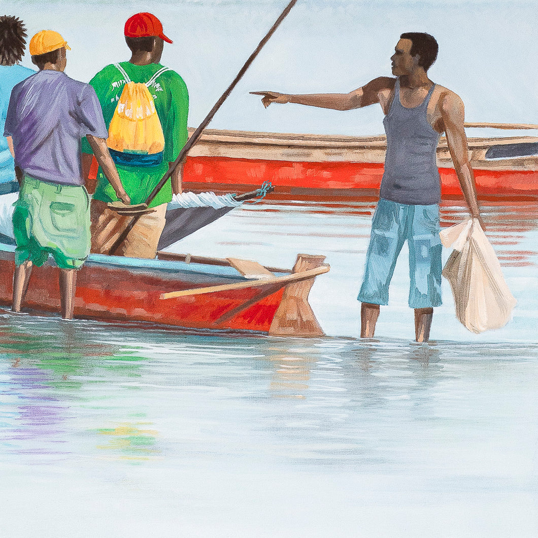 Fish traders in the shallows