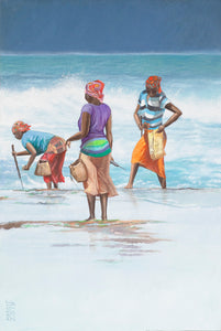 Three mussel pickers - Mozambique