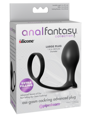 Anal Fantasy Collection Ass-Gasm Cock Ring Advanced Plug - BlackAnal Fantasy Collection Ass-Gasm Cock Ring Advanced Plug - Black