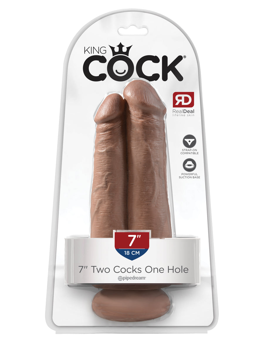 "Tan King Cock 7"" Two Cocks One Hole"