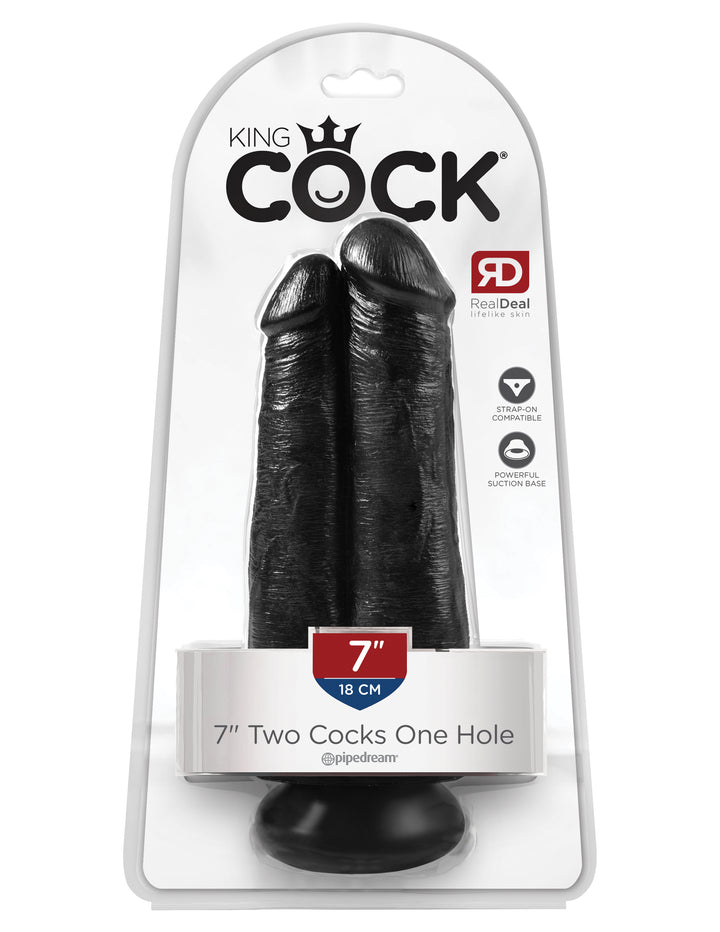 "Black King Cock 7"" Two Cocks One Hole"