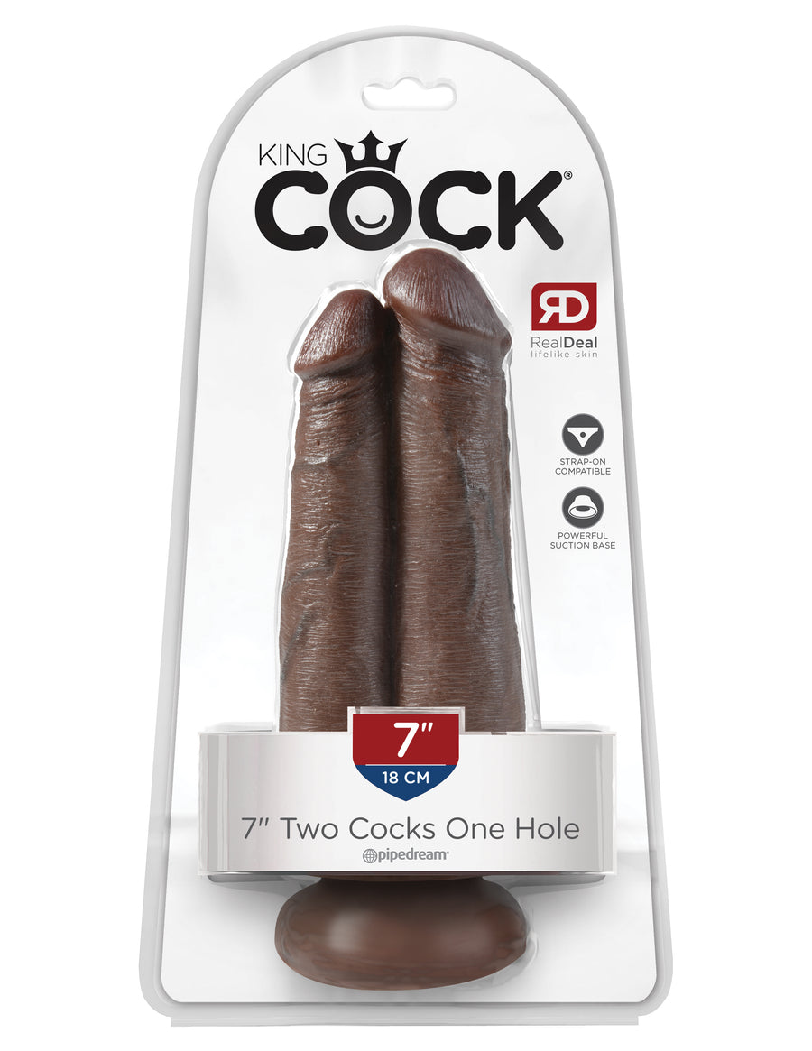 "Brown King Cock 7"" Two Cocks One Hole"