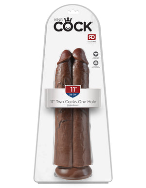 "Brown King Cock 11"" Two Cocks One Hole"