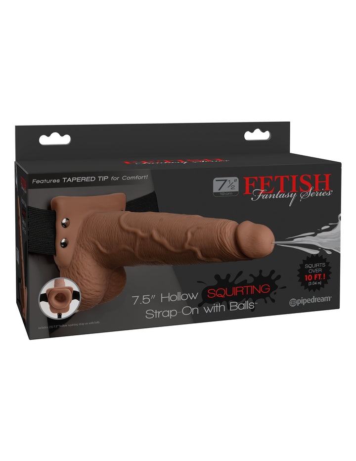 "Fetish Fantasy Series 7"" Squirting Hollow Strap-on - Tan/Black"