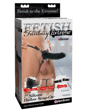 "Fetish Fantasy Extreme 7"" Silicone Hollow Strap-On - Black"
