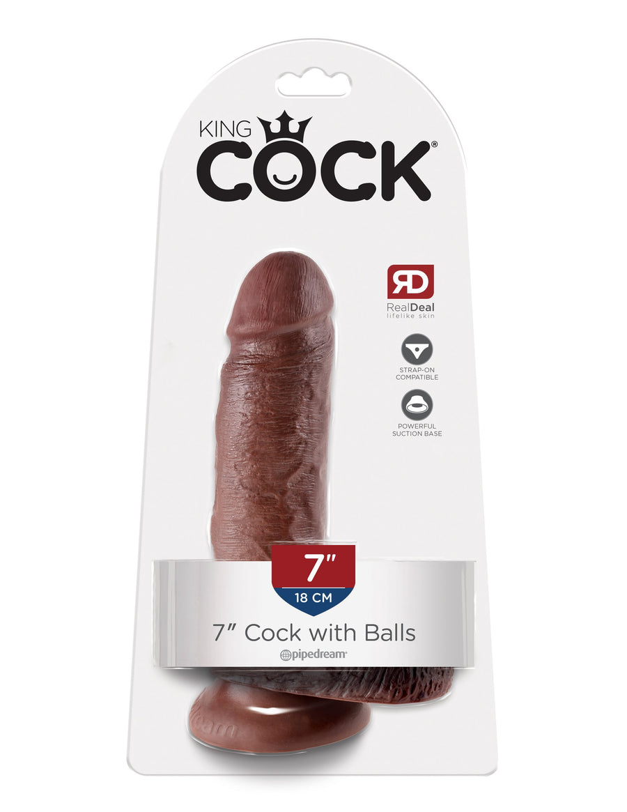 "King Cock 7"" Cock with Balls - Brown"