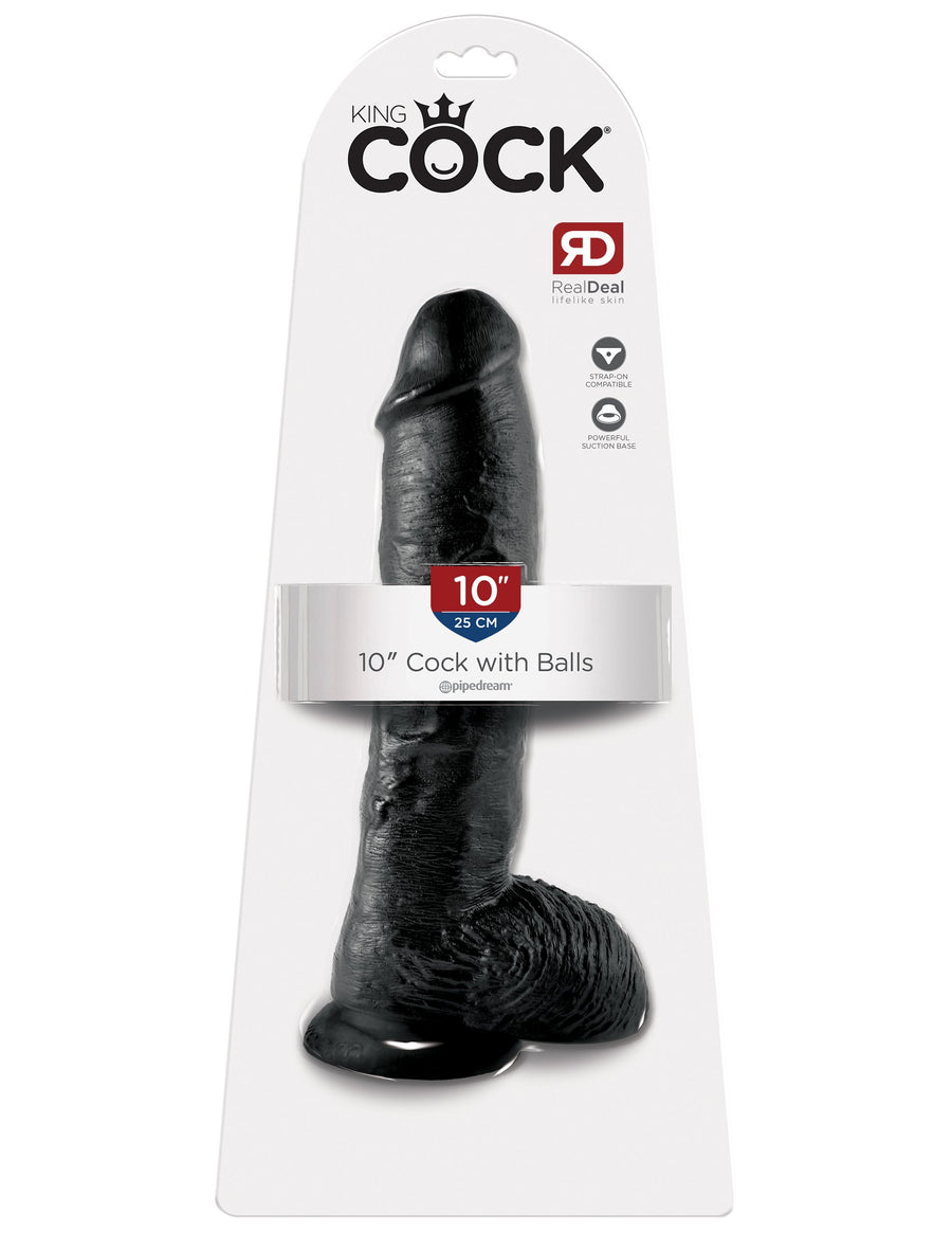 "King Cock 10"" Cock with Balls - Black"