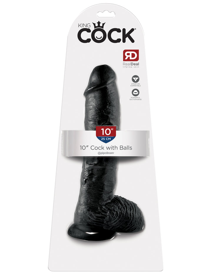"Black King Cock 10"" Cock with Balls"
