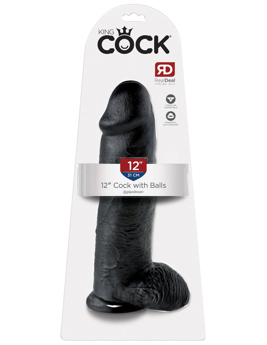 "Black King Cock 12"" Cock with Balls"