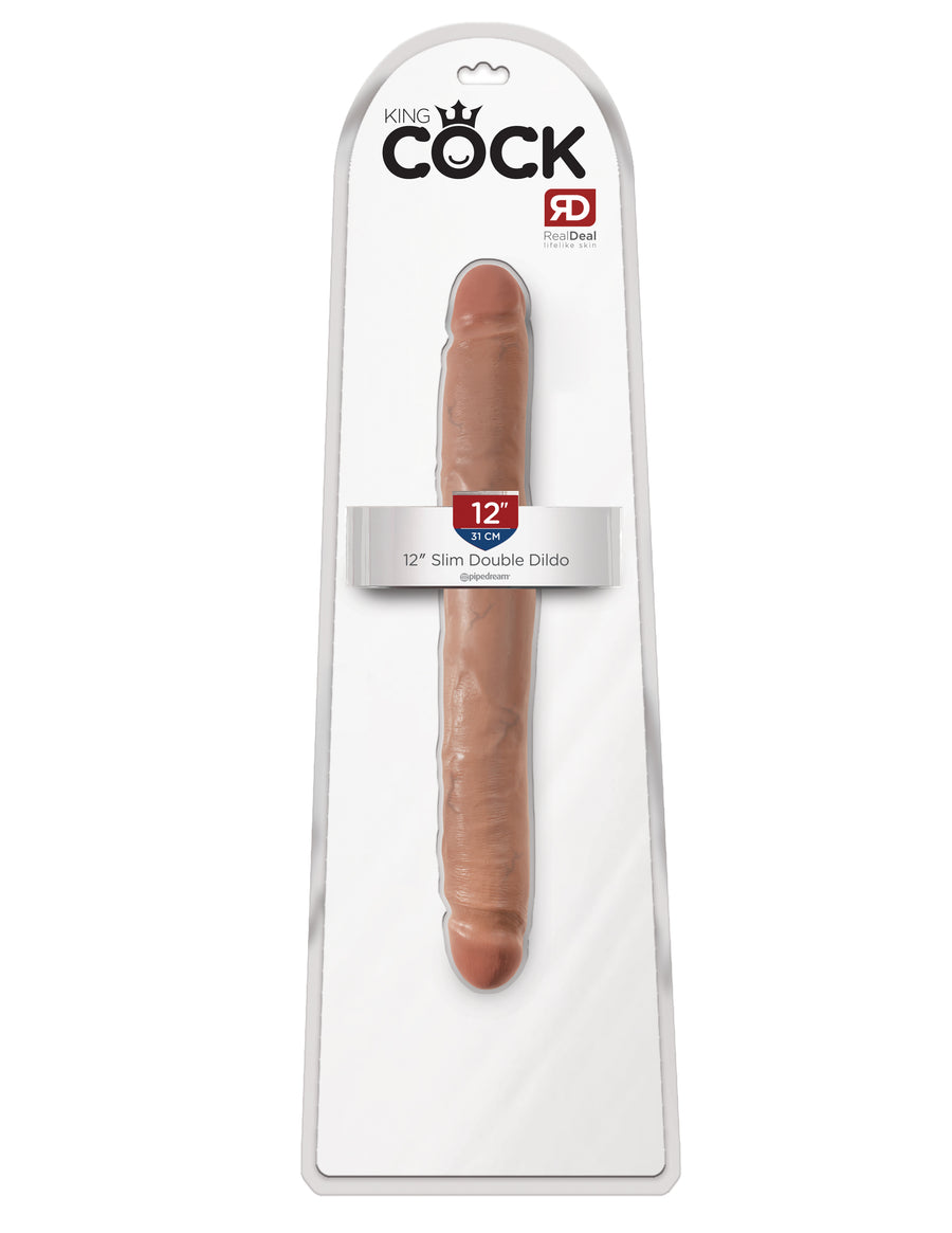 "Tan King Cock 12"" Slim Double Dildo"