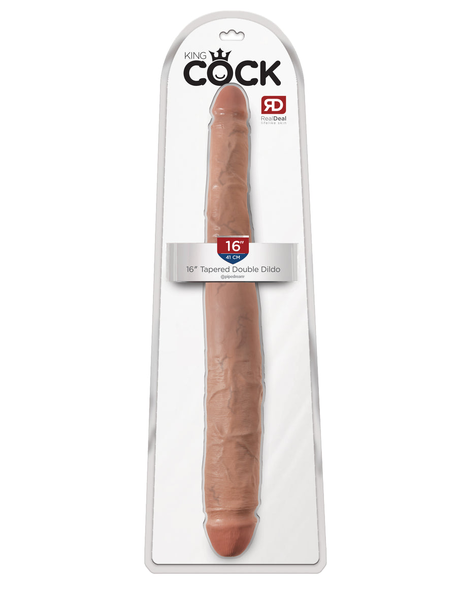 "Tan King Cock 16"" Tapered Double Dildo"