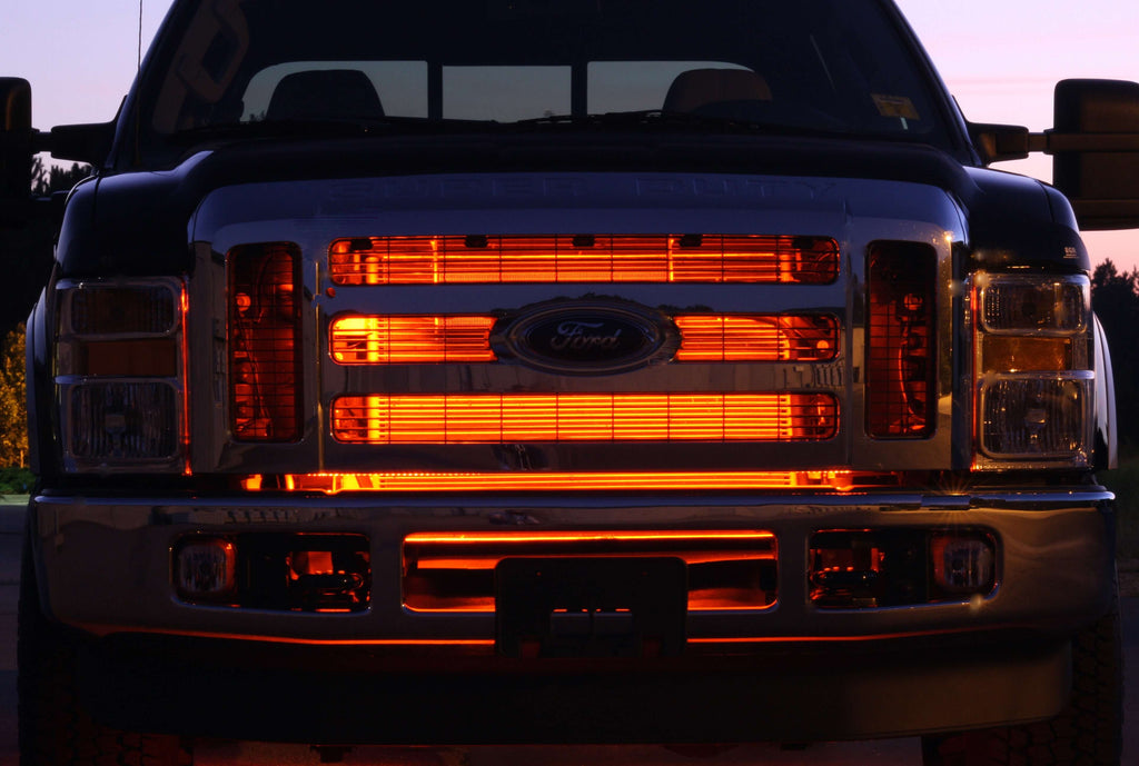 Amber 2 Pcs LED Truck Grill Light Set 12v