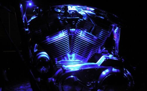Blue 2 Pcs LED Motorcycle Engine Light Set