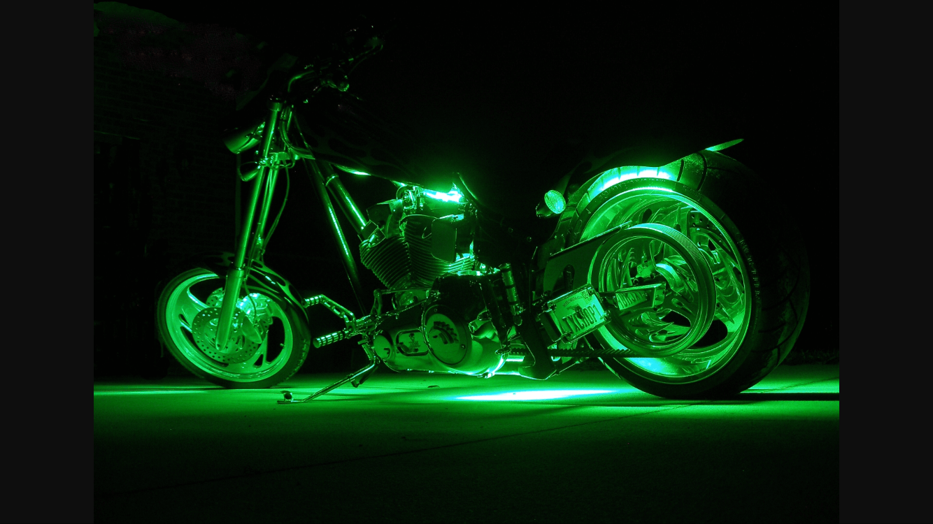 Green 4 Pcs LED Motorcycle Underglow Light Set