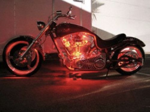 Red 2 Pcs Motorcycle Engine LED Light Set