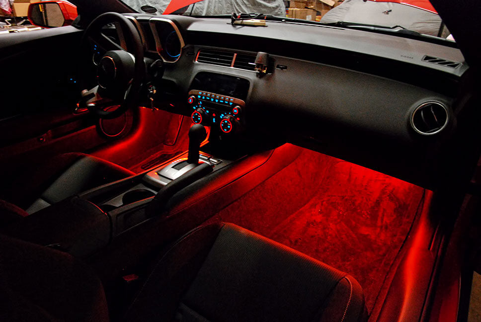 Red 2 Pcs Under Dash Footwell LED Light Set