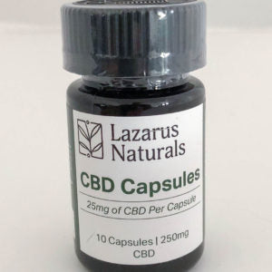 Lazarus Naturals 25mg CBD Capsules Qty 10 per bottle