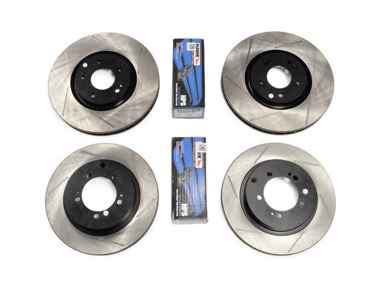 Stoptech x Hawk Performance Slotted Front & Rear Rotors/Pads Brake Package 08-15 Mitsubishi Evo X