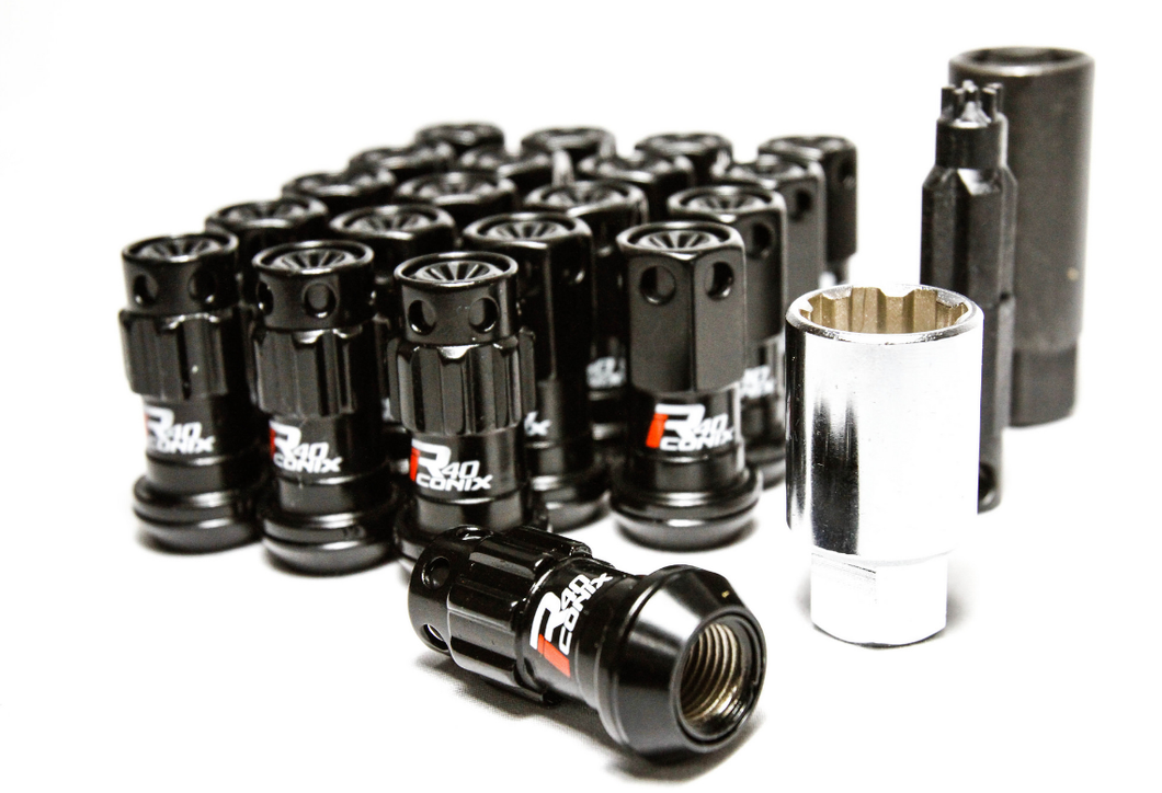 Project Kics R40 iCONiX Black Lug Nuts w/ Black Plastic Caps - 16 Lugs + 4 Locks