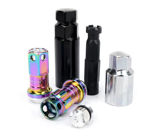 NRG 600 Series Extended Steel Lug & Lock Nut Set w/ Dust Caps - Neochrome